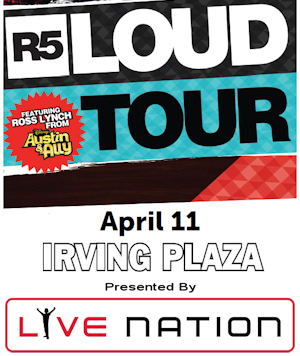 Live Nation Presents R5 Live at Irving Plaza Sweepstakes
