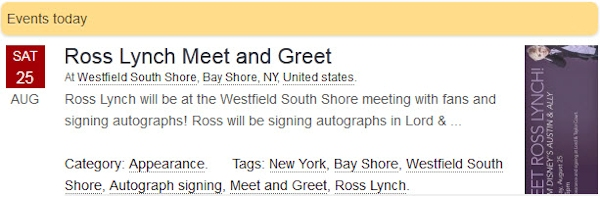 Ross Lynch Meet and Greet at Westfield South Shore New York