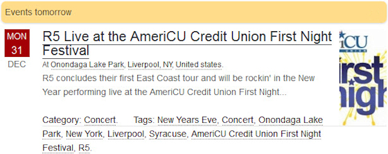 R5 East Coast Tour - Live at the AmeriCU Credit Union First Night Festival