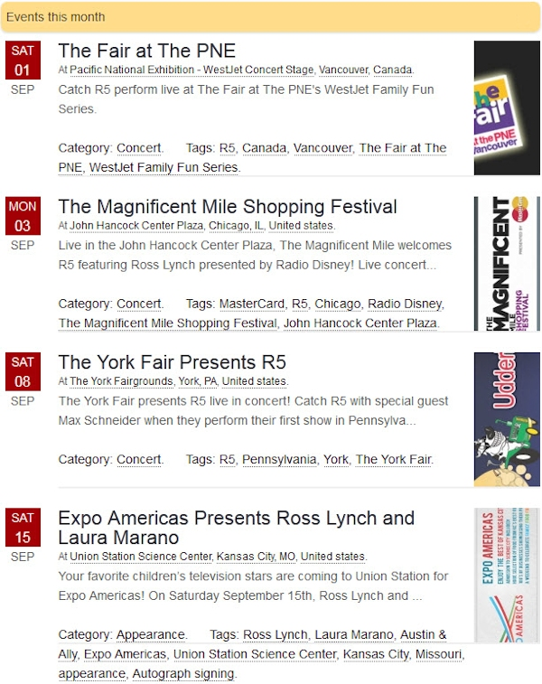 R5 Events for September 2012